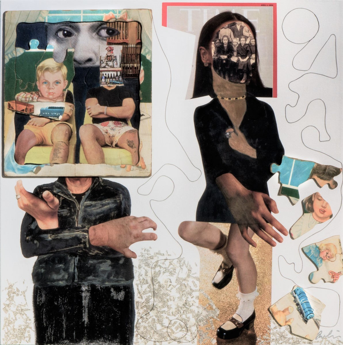 "24x24, 2020. $685. Mixed Media Painting, ""Play Nice"" was created with the current political climate in mind. How man-children treat girls and women at work and play. The image of school girls ( reproduced from a vintage school photo) placed within Alexandria Ocasio-Cortez's Time magazine portrait is a statement about how things from the early 20th century to the present has not changed for females. The vintage puzzle that makes up the male figure is about boys and their toys. How they revert back to childish games when dealing with women.