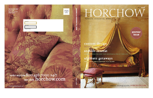 Concepts for Horchow Magalog with an editorial design and copy approach placing emphasis on Horchow.com for full product assortment.