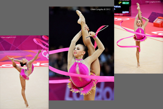 Daria Dmitrieva (Russia) competing with Ribbon during the Rhythmic Gymnastics competition of the London 2012 Olympic Games.