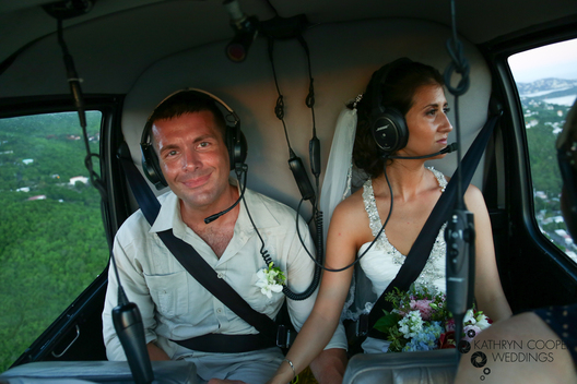 Helicopter wedding for Caribbean elopement on Caribbean Buzz helicopters St. Thomas