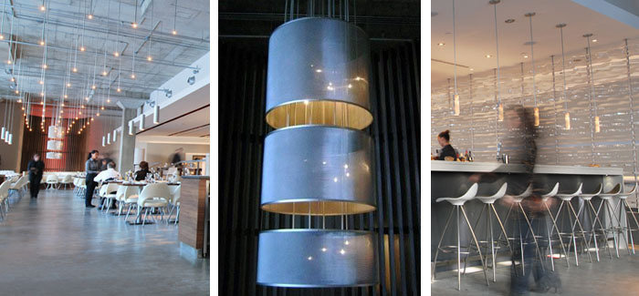 Cylindrical custom lamp shades and bar pendants incorporating Italian industrial directional stainless steel mesh