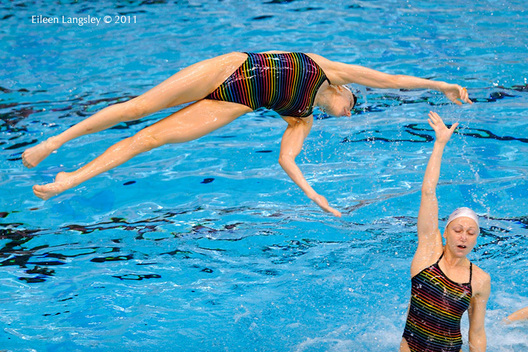 The Russian team during training at the 2011 European Synchro Champions Cup at the Ponds Forge International Sports Centre.