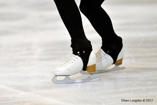 A generic image of the boots and blades of a skater during training at the 2012 Trophee Eric Bompard at the Palais Omnisports Bercy, Paris.