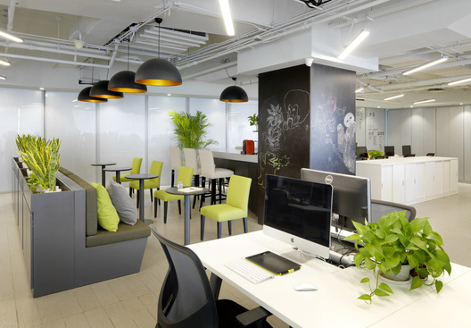 Cafe area of MomentCam Office, a Beijing-based mobile app developer, designed by Singapore's office designer, AND lab, in Beijing.