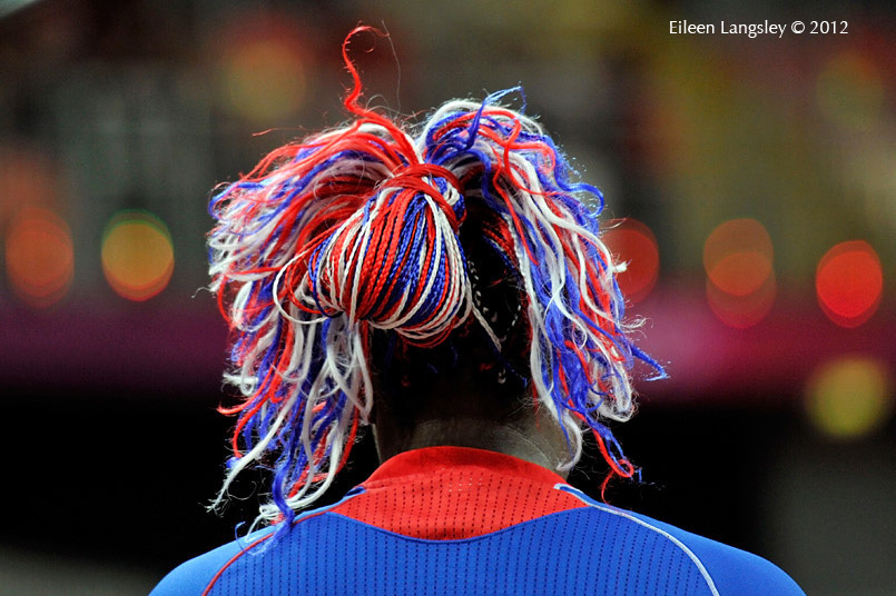 The hairstyle of French Basketball player Isabelle Yacoubou during their match against Canada.