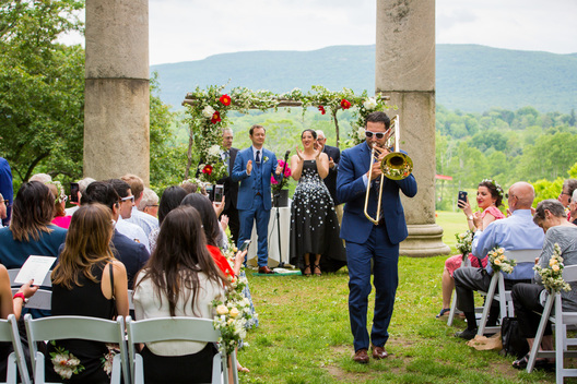Storm King alternative wedding at Storm King Art Center with trombone wedding performer - Hudson Valley wedding photographer