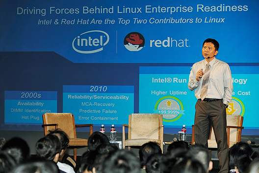 Li Kuo Hui, Solution Architect, Intel Enterprise Solution Sales, addresses a full house at the Red Hat Forum  Taipei, October 30, 2014