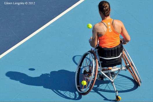 Marjolein Buis (Netherlands) competing in the women's singles event and Francesc Tur Blanch (Spain) competing in the men's singles of the Wheelchair Tennis competition at the London 2012 Paralympic Games.