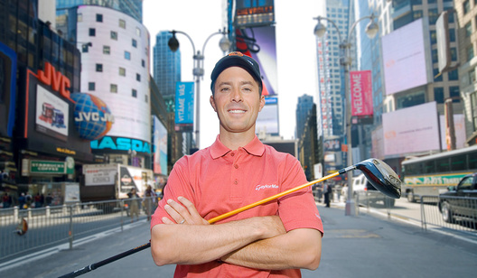 Professional Golfer Mike Weir in Times Square, NY