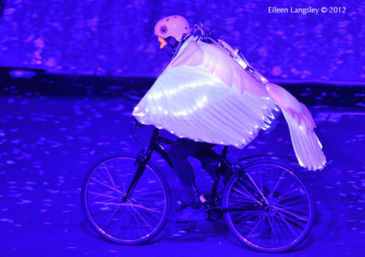 A cycling Dove of Peace during the Opening Ceremony at the London 2012 Olympic Games.