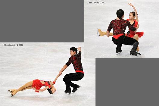 Cheng Peng and Hao Zhang (China) competing in the Pairs competition at the 2012 ISU Grand Prix Trophy Eric Bompard at the Palais Omnisports Bercy