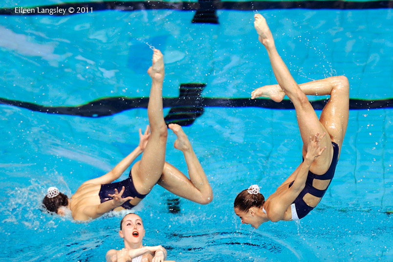 The group from Great Britain set up a throw from underwater while competing in the Team section of the European Synchro Champions Cup in Sheffield May 2011.