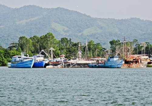 Fishing boats at La Ceiba, Honduras