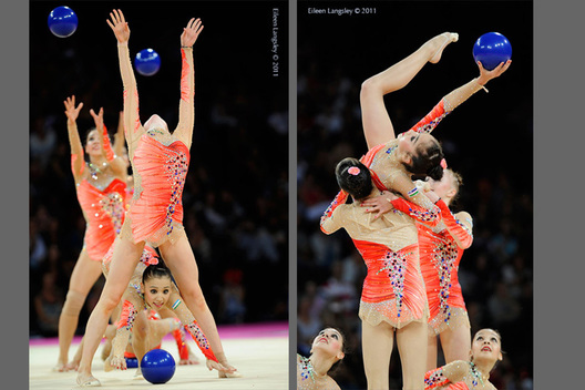 The group from Uzbekhistan competing at the World Rhythmic Gymnastics Championships in Montpellier.