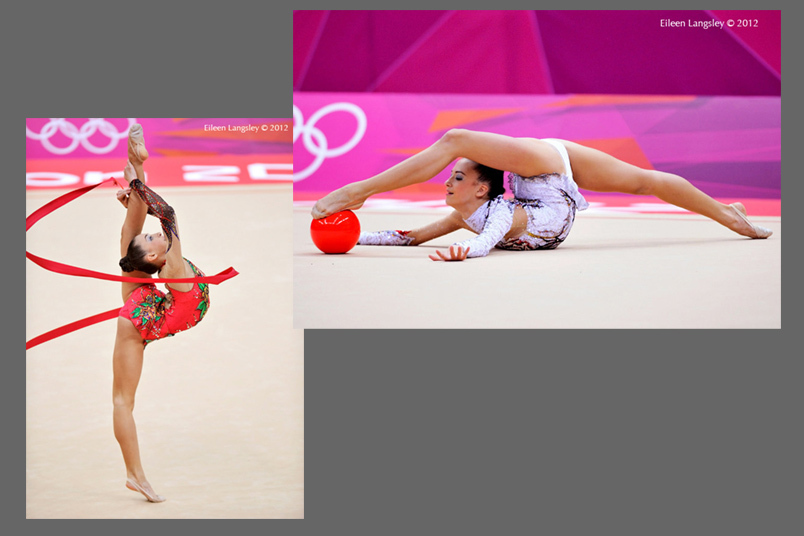 Janna berezko-Marggrander (Germany) competing with Ribbon and Ballduring the Rhythmic Gymnastics event at the 2012 London Olympic Games.