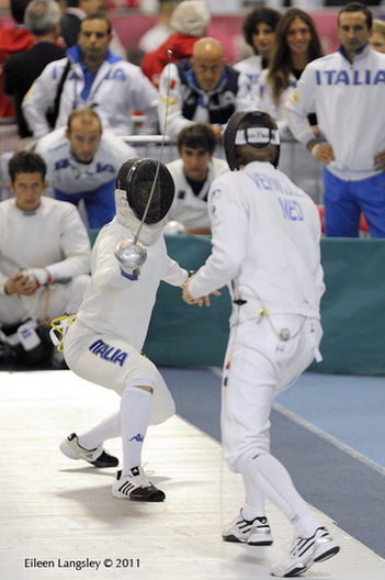 An action image of Matt Trager (Italy) and Bas Verwijlen (Netherlands) competing in the Men's Epee event at the 2011 European Fencing Championships at the English Institute of Sport Sheffield July 18th.