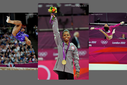 Gabrielle Douglas (USA) competes on Balance Beam during the women's team competition at the 2012 London Olympic Games.