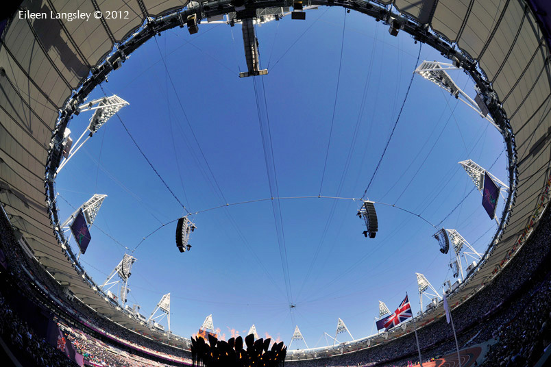 A fish eye view of the Olympic Flame burning in the stadium at the 2012 London Olympic Games.