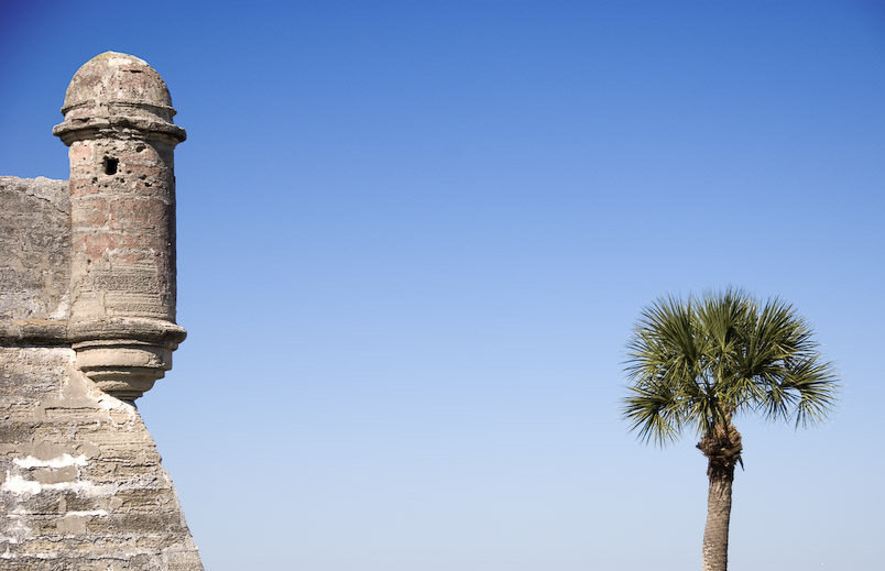 A picture contrasting a tower of Castillo de San Marcos with a nearby Palm Tree taken in 2007.