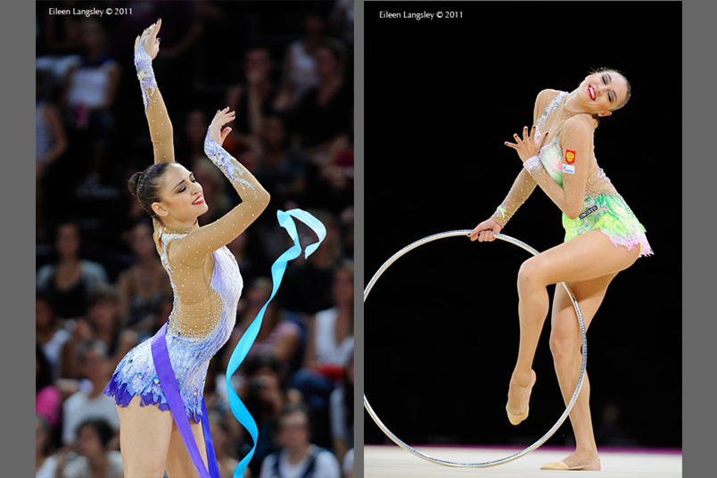 Evgenia Kanaeva (Russia) competing with Ribbon and Hoop at the World Rhythmic Gymnastics Championships in Montpellier.