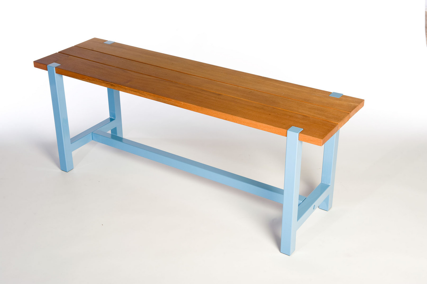 "Designed to be used outside but works inside as well. Benches are available in 42"" and 54"" lengths or custom depending on your needs.  Color show in light blue, other colors available. Bench shown is 42"" long, 15"" wide and 18"" tall."