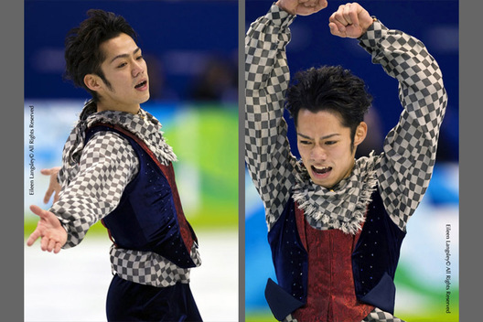 A double action portrait image of Bronze medallist Daisuke Takahashi (Japan) in action during his free programme at the 2010 Vancouver Winter Olympic Games.