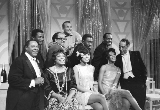 George Kirby, Sidney Poitier, Gloria Lynne, Langston Hughes, Harry Belefonte, Joe Williams, Dihann Carrol, Nipsy Russell, Paula Kelly, Duke Ellington. 1st American TV special produced by African Americans. Aired on CBS 1965