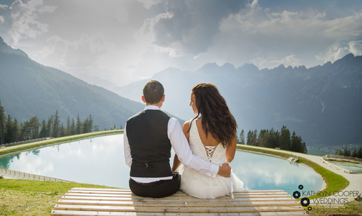 Switzerland wedding destination Austria on mountaintop
