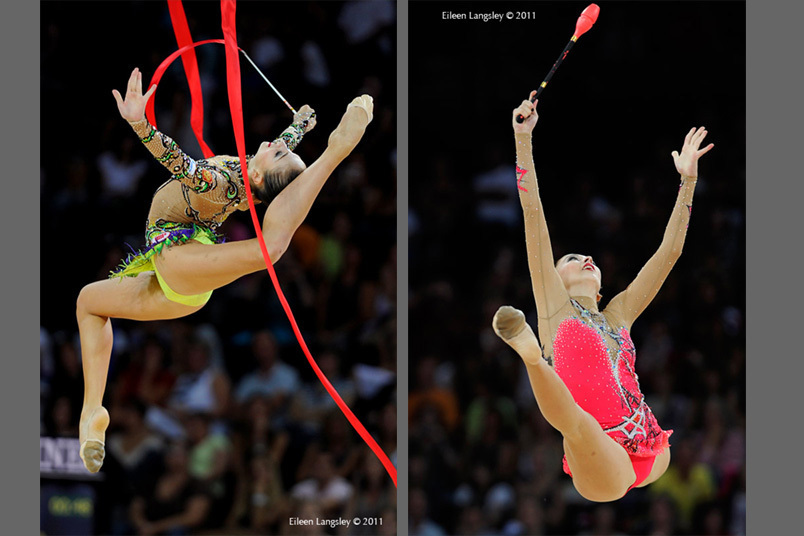 Daria Kondakova (Russia) competing with Ribbon and Clubs at the World Rhythmic Gymnastics Championships in Montpellier.