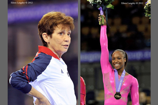 Donna Strauss watches as her gymnast Elizabeth Price (USA) wins the 2012 FIG World Cup in the Emirates Arena Glasgow December 8th