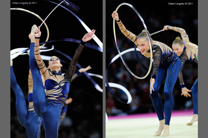 The group from France competing with Hoop and Ribbon at the World Rhythmic Gymnastics Championships in Montpellier.