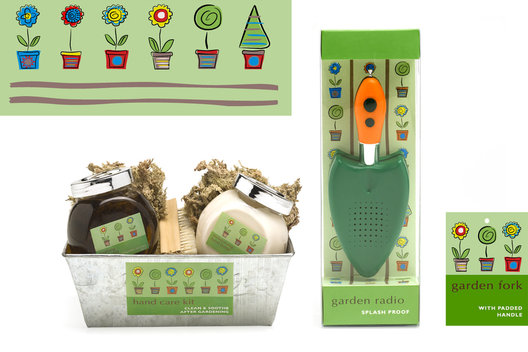 Packaging design for a range of gardening gifts.