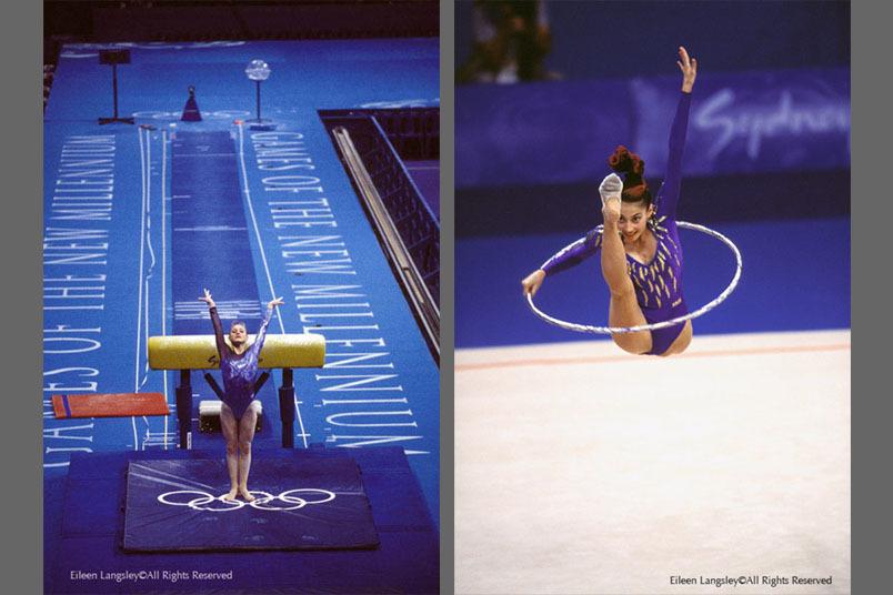 A double image of interesting use of the Olympic Rings - landing on the logo at the Gymnastics vaulting event left and leaping through a hoop in front of the logo right, both images from the Sydney 2000 Summer Games.