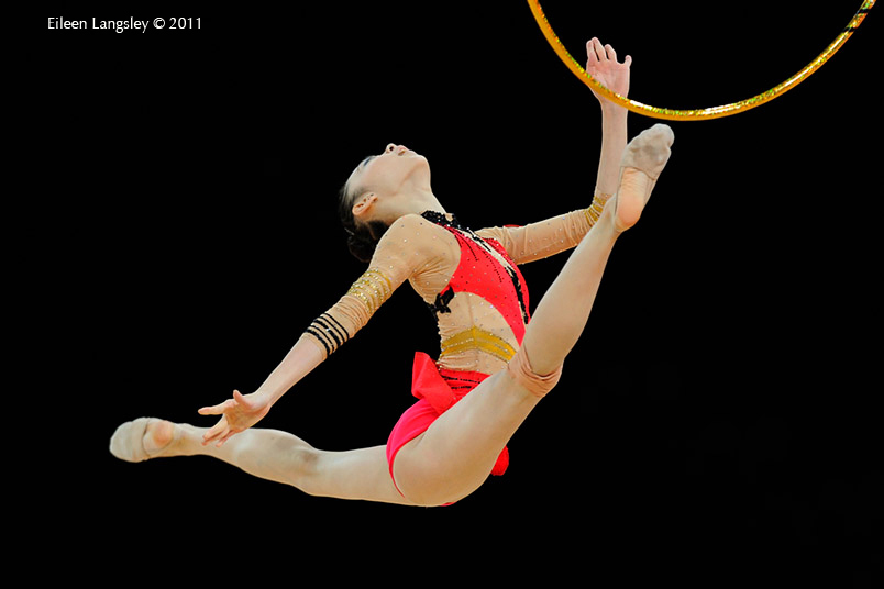 Peng Linyi (China) competing with Hoop at the World Rhythmic Gymnastics Championships in Montpellier.