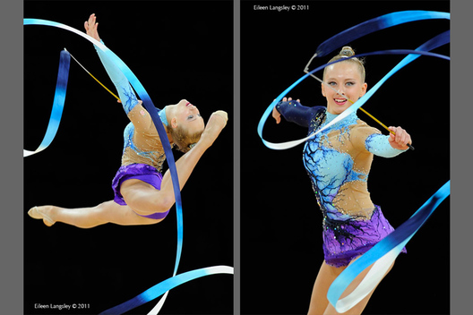 Mirjana Sekovanic (Croatia) competing with Ribbon at the World Rhythmic Gymnastics Championships in Montpellier.