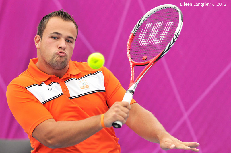 Tom Egberink (Netherlands) in action during the men's single event at the wheelchair tennis competition of the London 2012 Paralympic Games.