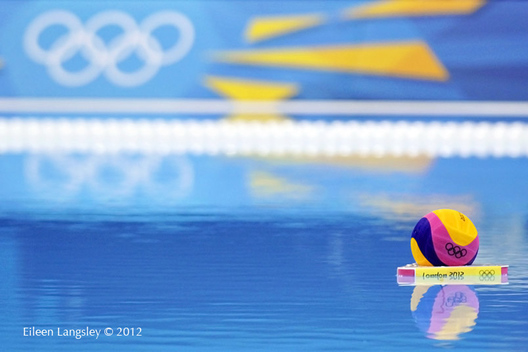 Reflections of a water polo ball and the Olympic Rings at the 2012 London Summer Olympic Games.