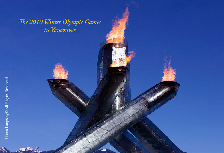 The Olympic flame and cauldron at the waterfront harbour in Vancouver at the 2010 Winter Olympic Games.