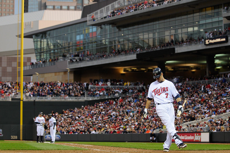 April 02 2010: Minnesota Twins catcher Joe Mauer prepares to bat in the St. Louis Cardinals 8 to 4 win over the Minnesota Twins at Target Field in Minneapolis, Minnesota.