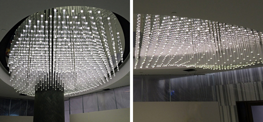 "27"" x 16', varying length 600 glass rod coffered ceiling feature. Each clear glass rod illuminated with LED source hidden in mirrored ceiling canopy"