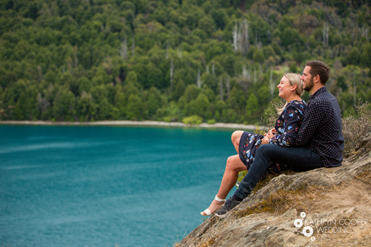 Blue lake in New Zealand for engagement photos by destination NZ wedding photographer