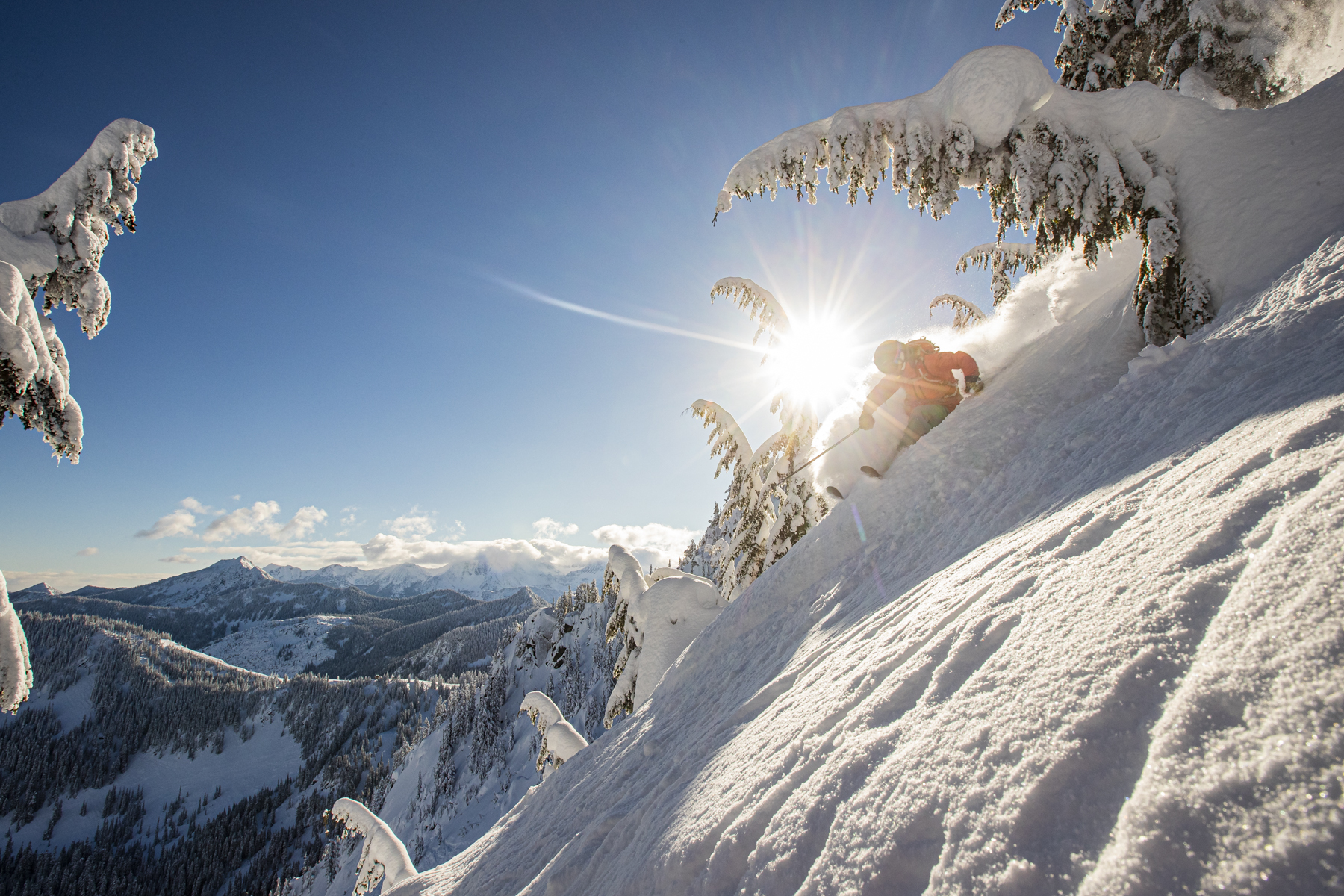 Ingrid Backstrom skiing powder snow at Stevens Pass, WA. 2019
