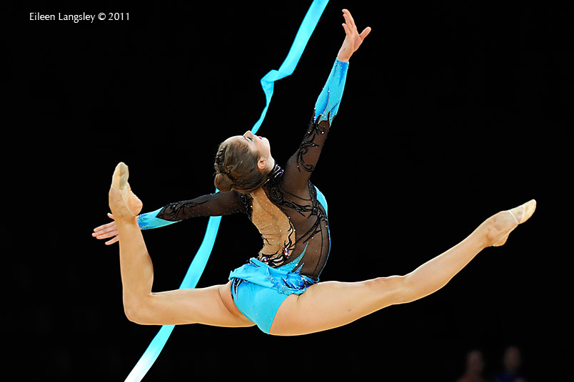 Cynthia Valdez Perez (Mexico) competing with Ribbon at the World Rhythmic Gymnastics Championships in Montpellier.