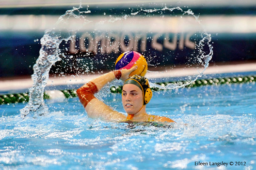 Australia makes waves during the women's Water Polo match against Russia.