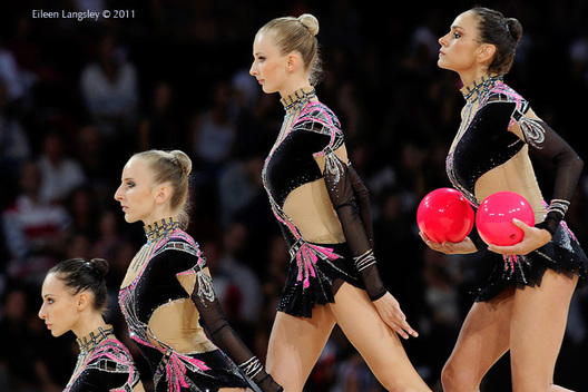 The group from Italy competing at the World Rhythmic Gymnastics Championships in Montpellier.
