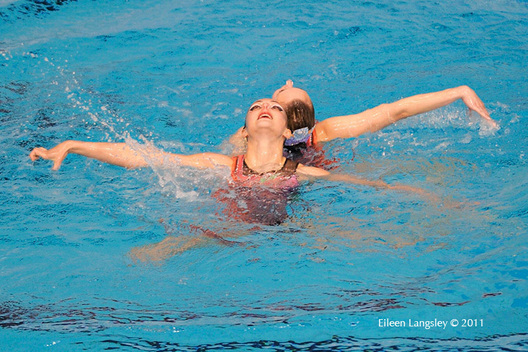 Hanna Besprozvannikh and Ekateryna Trishkevich (Belarus) compete in the Team section of the European Synchro Champions Cup in Sheffield May 2011.
