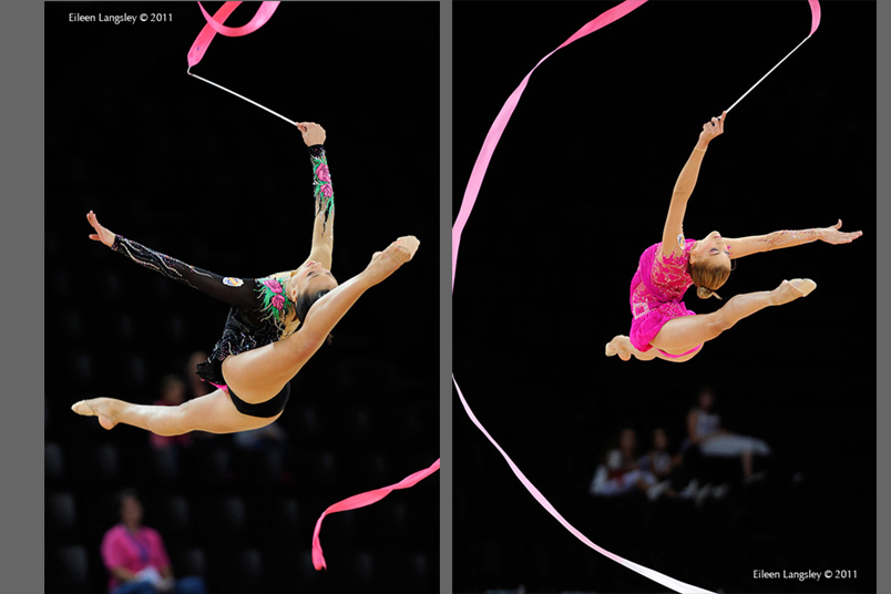 Spanish gymnasts Natalia Garcia (left) and Julia Uson Carvajal (right) competing with Ribbon at the World Rhythmic Gymnastics Championships in Montpellier.
