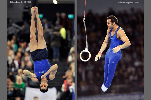 Danell Leyva (USA) competing on Rings at the 2012 FIG World Cup in the Emirates Arena