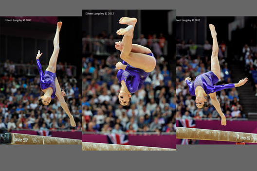 United States gymnasts Kyla Ross, Jordan Wieber and Alexandra Raismann competing on Balance Beam during the Artistic Gymnastics competition of the London 2012 Olympic Games.