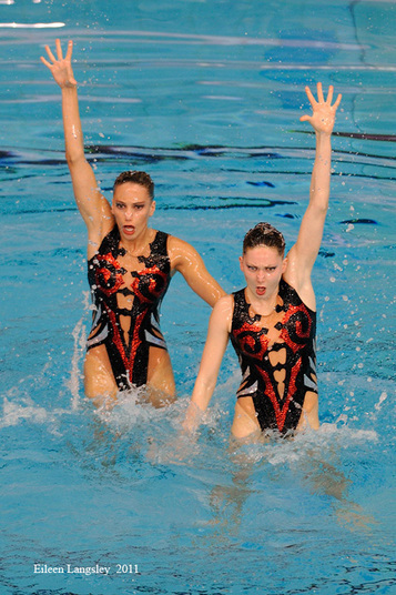 Olivia Allison and Jenna Randall (Great Britain) compete in the Duo/Duet section of the European Synchro Champions Cup in Sheffield May 2011.
